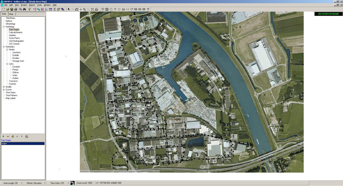 rioolstelsel geprojecteerd op google maps satelietfoto