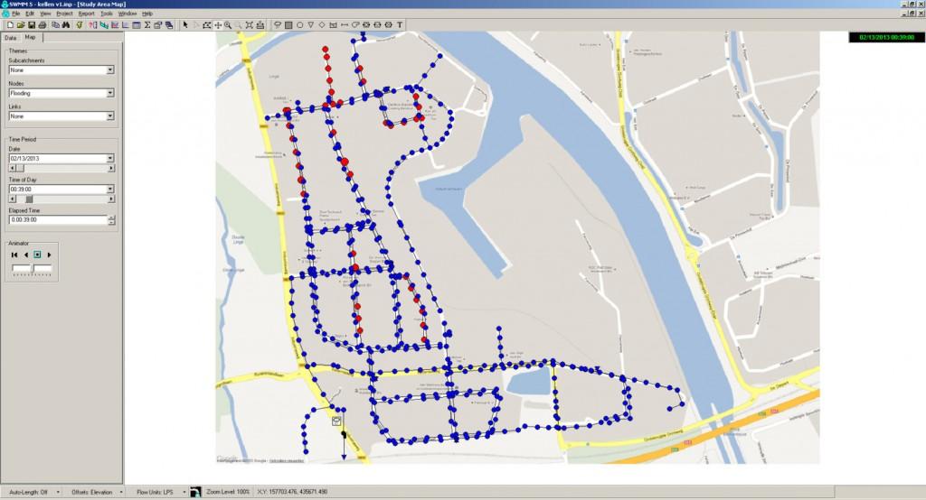 stelsel met de locaties waar water op straat wordt berekend in rood aangegeven